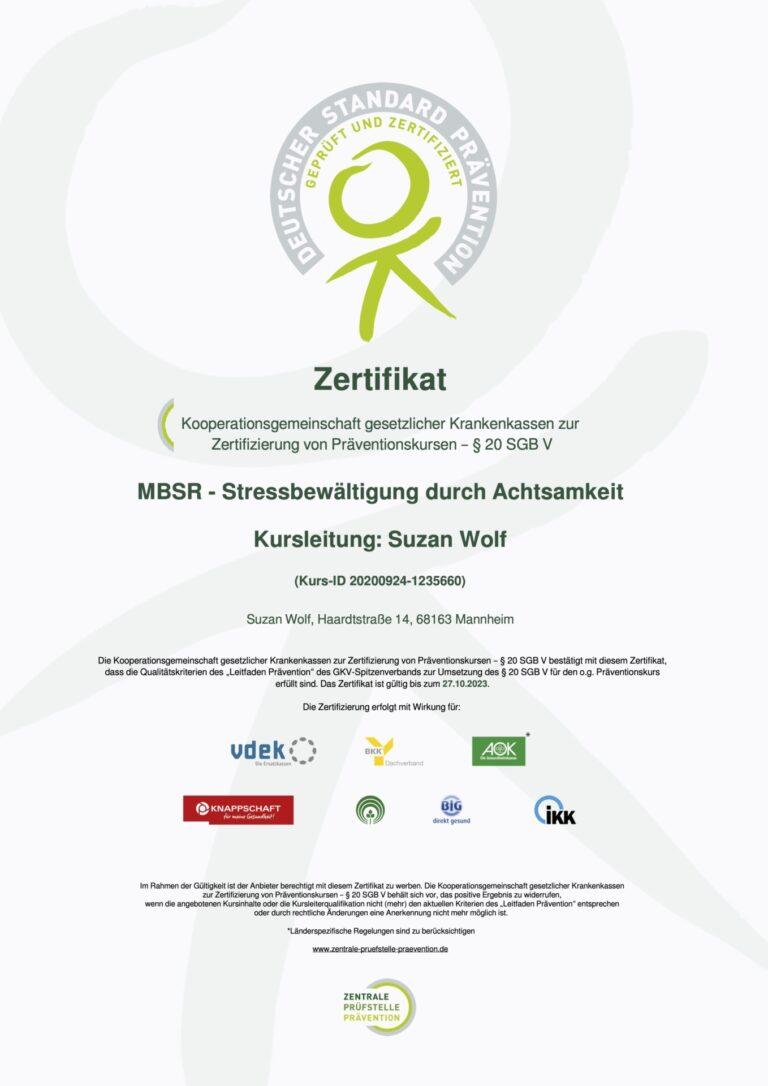 Zertifikat der Zentralen Prüfstelle Prävention